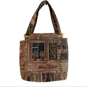 Vintage cottagecore tapestry shoulder bag